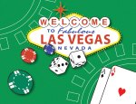 Image of Las Vegas card table with dice and poker chips