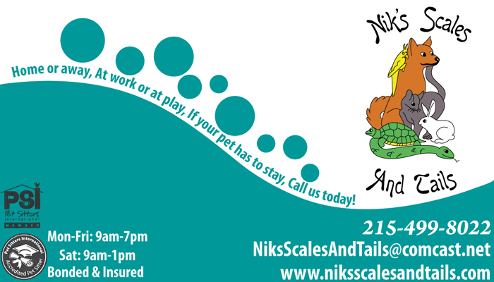 Niks scales tails business card creation melissabozarthdesign business card design for niks scales and tails pet sitting colourmoves