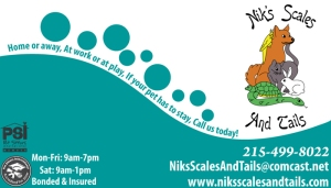 Business Card design for Niks Scales and Tails pet sitting